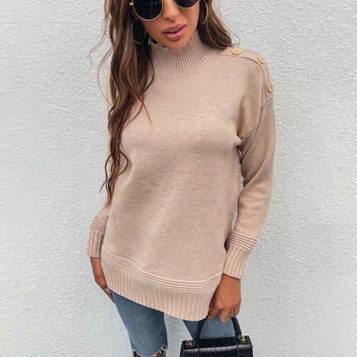 Autumn Winter Women Turtleneck Sweater Knitted Button Oversize Warm Pullovers Sweater Long Sleeve Slim Loose Jumper