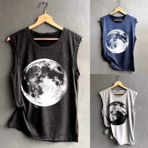 Women The Moon Print Vest Casual Loose Summer Tops Sleeveless Cotton Tank Sport Pullover Club Streetstyle Basic Tunic Top