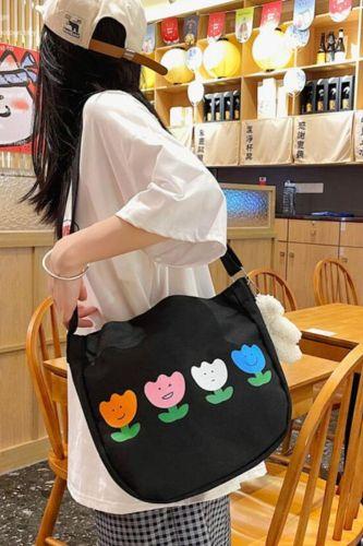 Casual Fashion Tulip Flowers Printing Women Crossbody Shoulder Bags Reusable Canvas Large Capacity Messenger Shopper Handbag