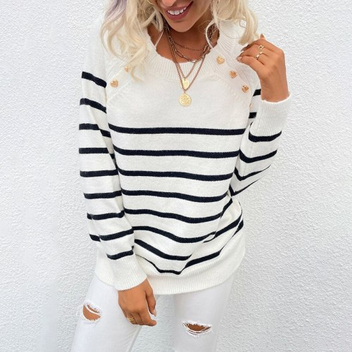 Fashion Casual Women Pullover Sweater Long Sleeve Buttons Tops Female O Neck Knitwear Striped Women Autumn Winter Sweater