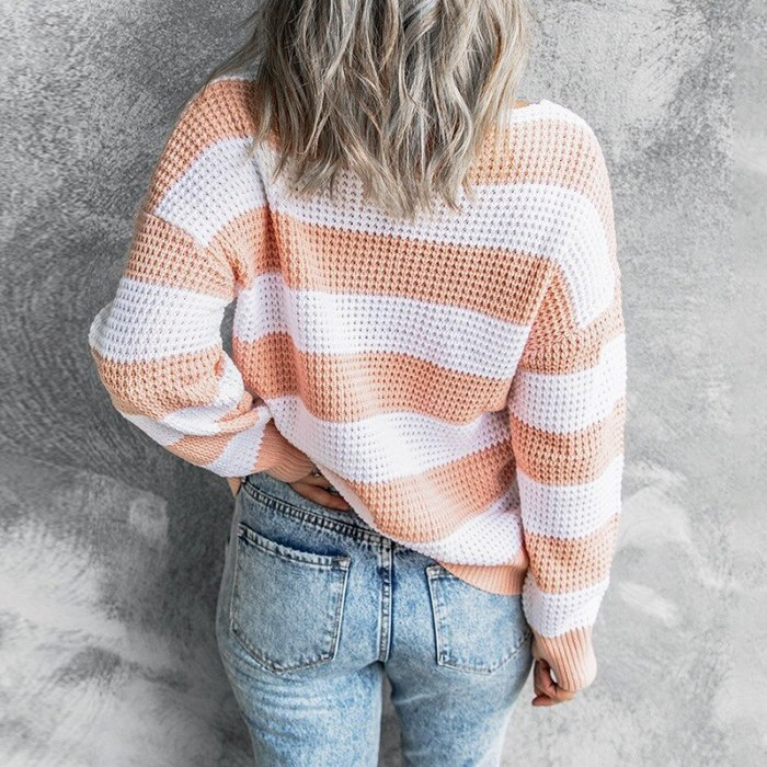 2021 Women Knitted Sweater Autumn Winter V Neck Stripe Stitching Waffle Pullovers Daily Wear Loose Office Lady Clothing