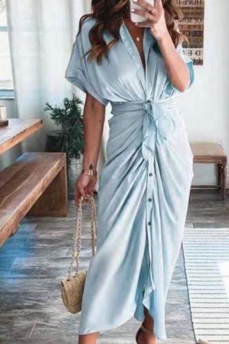 Women Summer Elegant Button Ruched Bandage Shirt Dress Fashion Casual Short Sleeve Solid V Neck Beach Maxi Dress