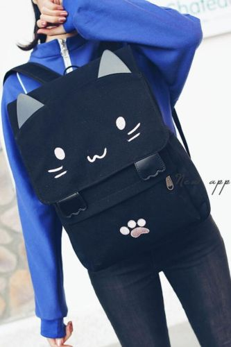 Cute Cat Schoolbags 2021 New Casual Women Backpack Canvas School Book Bag For Girls Back Pack Printing Big Pink Black School Bag
