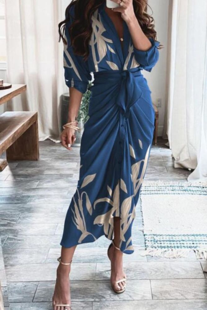 2021 Women Summer Sexy Leaf Pattern Print Tied Detail Ruched Shirt Dress Casual Vintage Bodycon Party Long Dresses
