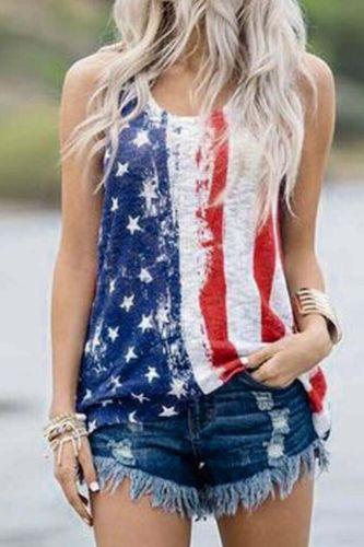 American Flag O-Neck Tank Women Sleeveless Tee Shirt 2020 Casual Female Tank Top Lady Streetwear Women Summer Tops
