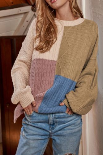 2021 Autumn Winter O-Neck Long Loose Lantern Sleeves Thick Fine Yarn Patchwork Pullovers Sweet Women Sweaters