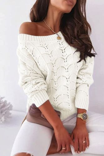 Hollow Out Knit Cardigan Sweater For Woman 2021 Autumn New Thin Beach Coverall Full Bat Sleeve Strapless Sweater Women's Clothes
