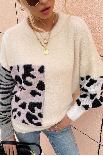Women Mohair Leopard Printed Long Sleeve Crew-Neck Pullover Sweater Chic Warm Fluffy Spring Fall Jumper