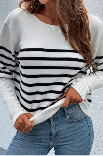 Women Autumn Winter sweater Pullovers 2021 O-Neck Buttons Sleeved Striped Patchwork Pullovers Casual Women Knitted Sweater