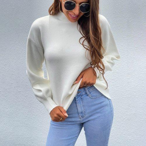Autumn Winter Women Turtleneck Sweater Oversize Warm Pullovers Sweater Jumper New High Collar Lantern Sleeve Sweater Female