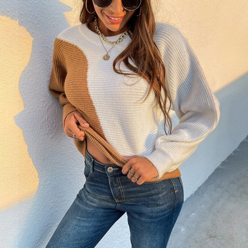 2021 Oversized Thick Cashmere Sweater Women Patchwork Knitting Color-block Sweaters  Female Long Sleeve Casual Loose Pullovers