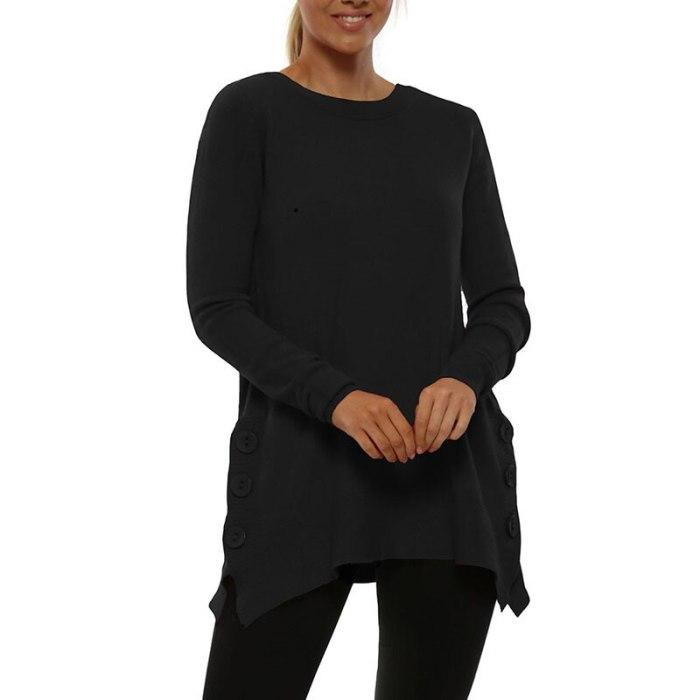 Casual Elegant Women Long Sleeve Sweaters O Neck Female Pullover Tops Buttons Knitwear Women Streetwear Sweaters