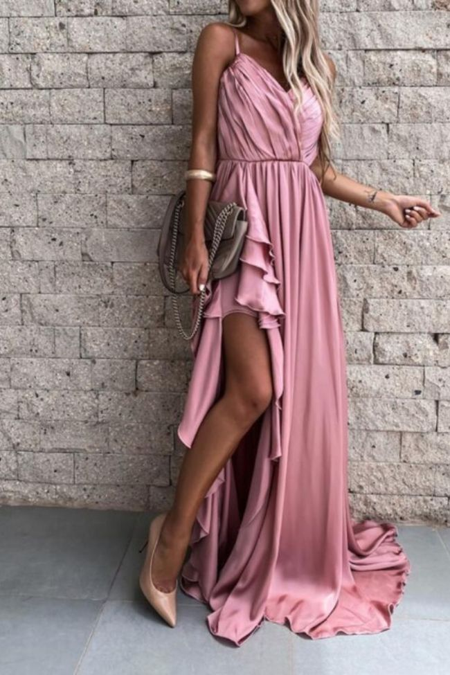 Sexy V Neck Draped Wrap Party Dress Women Elegant Multi-layer Ruffles Irregular Dress Spring Summer Sleeveless Sling Long Dress