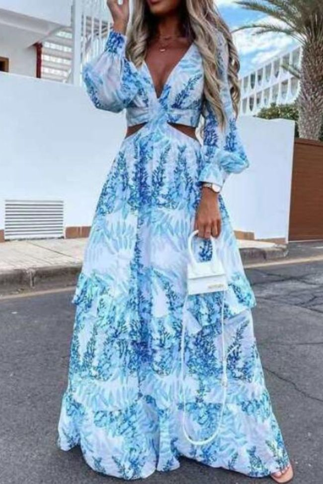 Beach Long Dress Sexy Hollow Out Boho Deep V Neck Summer Women's Dress 2021 Print Ruffle Party Long Sleeve Maxi Dresses Designer