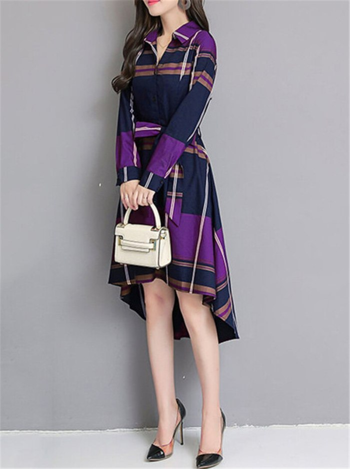 Summer Stinlicher Women Grid Stripe Dress Elegant Lady Office Long Sleeve Dresses Women Tunic Bandage Midi Dress Plus Size B760