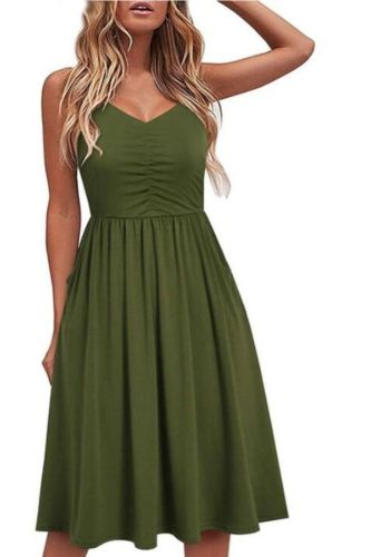 Women Solid Summer Dress Female Seaside Sling Sleeveless V-Neck Midi Dress Ladies High waist plus size black dress vestidos