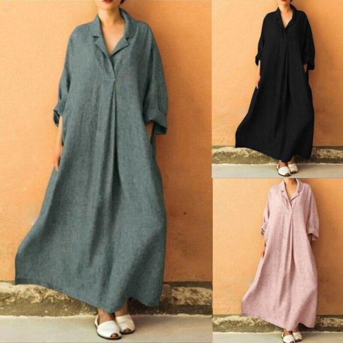 Womens Dress  Pure color Leisure Plus Size Long Sleeve V-Neck Cotton Linen Maxi Dress