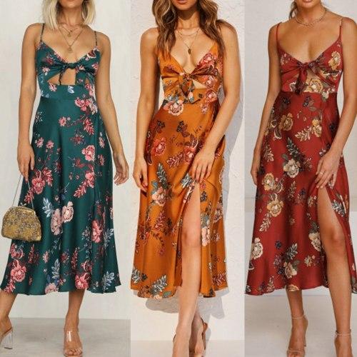 Women Dress Boho Summer Elegant Floral Halter Long Dress Sexy Bandage Evening Party Maxi Dresses Sundress Vestidos платье 2021