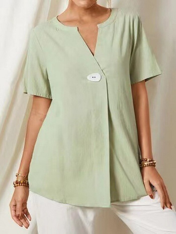 2021 Women'S Cotton Shirt Loose V-Neck Blouse Women'S Cotton T-Shirt Chemise Femme