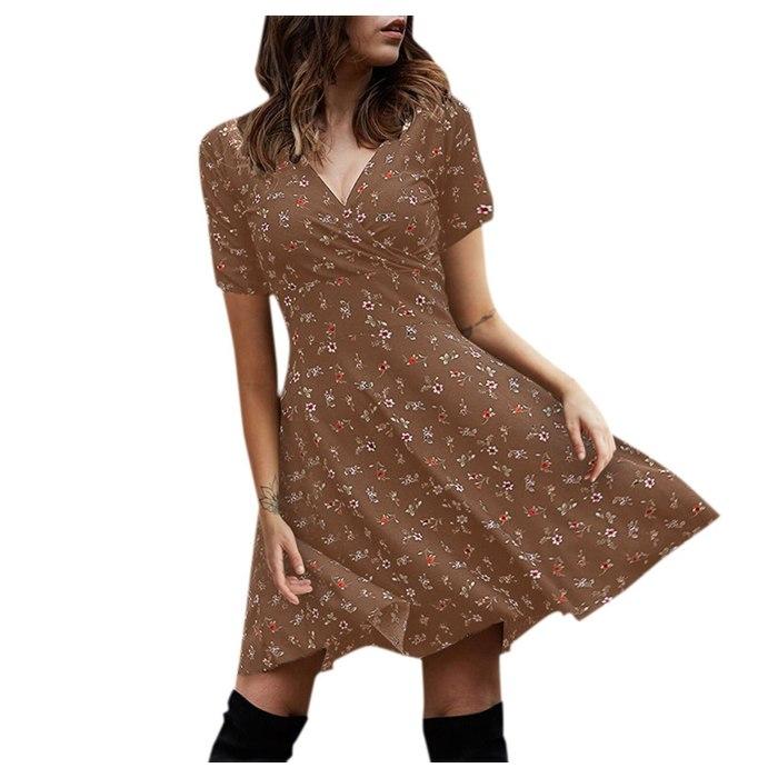 Summer 2021 Women Vintage Floral Print Boho Dress Casual V-Neck Short Sleeve Loose A-Line Knee-Length  Holiday beach Dress Woman