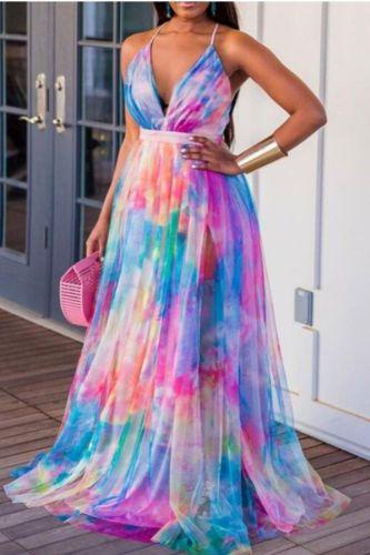 Sexy Criss-cross Backless Boho Long Dress Women Elegant V Neck Wrap Maxi Party Dress Spring Summer Colorful Tie-dye Print Dress