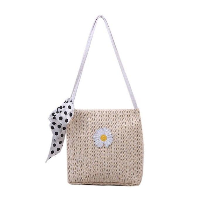Women Summer Woven Bucket Bag Ladies Daisy Handbag Wild Silk Scarf Shoulder Bags 2021 New Trend Fashion