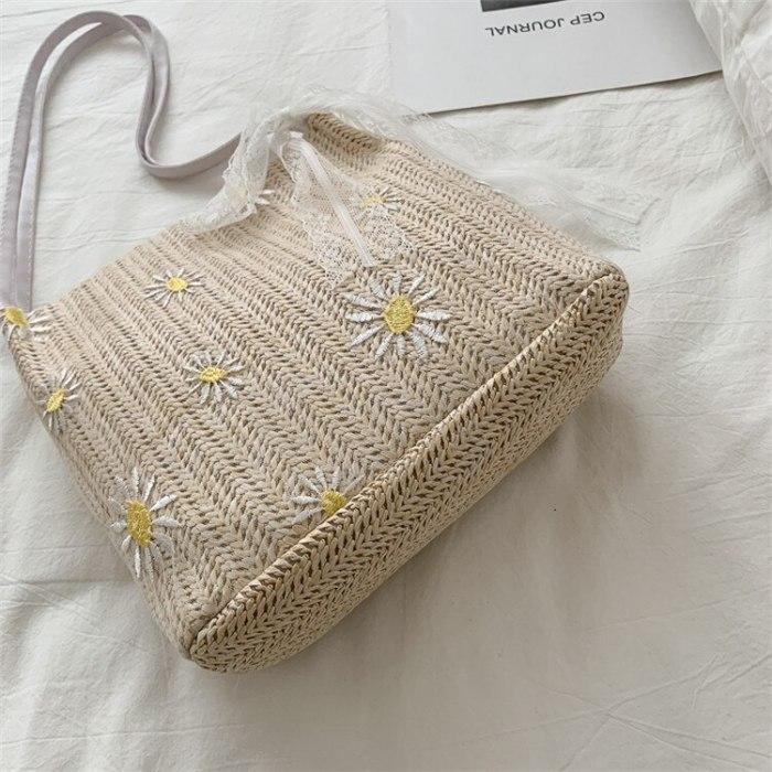 Handmade Lace Flower Woven Straw Bag Summer Women Messenger Crossbody Bags Girls Small Beach Handbag High-Capacity Tote Bag