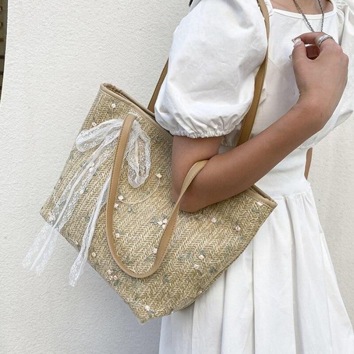 Women Handbag Summer Beach Bag Rattan Woven Handmade Knitted Straw Large Capacity Totes Leather Women Shoulder Bag Bohemia New