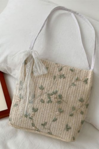 Lace Straw Women Shoulder Bags  Woven Ladies Handbags Handmade Summer Beach Rattan Bag Female Large Capacity Tote Bags