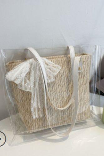 2Pcs Summer Retro Transparent Woven Shoulder Bag Women Tote Pouch Composite Bags Summer Handbag Women Tote Vintage