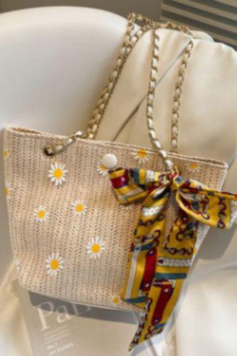 Women Handbags Straw Woven Bag Summer Japanese Straw Chain Shoulder Bag Fashion Simple Handmade Beach Crossbody Bag For Women