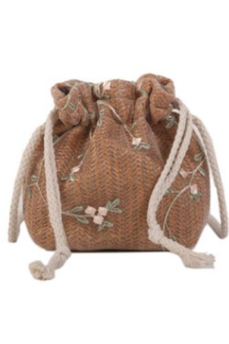 Fashion Small Shoulder Bags Women Beach Straw Woven Flower Embroidery Bags Ladies Lace Crossbody Handbags for Travel