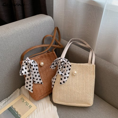 Fashion Summer Woven Bags Leisure All-match Large-capacity Straw Bucket Hand Bag Korean Harajuku Sweet Girls Hasp Lace Bow Chic