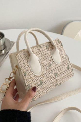 Vintage Women Straw Woven Messenger Bags Daisy Embroidery Fashion Top-handle Shoulder Women Luxurious Messenger Bag