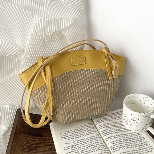 Summer new retro straw rattan bag casual zipper beach shoulder bag long strap Women Beach Handbags dumpling shaped tote bag