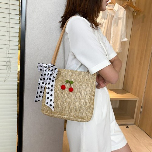 Summer Woven Bags Scarves Sweet Female Ins Fashion Large Capacity Simple Straw One-shoulder Beach Student Bucket All-match Bag