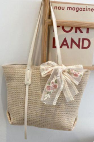Newest Female Single-Shoulder Bag, Adults Girls Multipurpose Lace Floral Bowknot Handbag Bohemian Beach Straw Bag