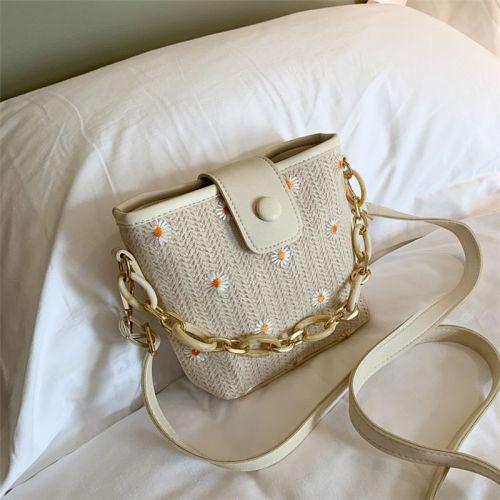 Women Straw Bag Chrysanthemum Pattern Bucket Bags Simple Small Fresh Crossbody Bags Shopping Handbags Travel Shoulder Bag Gift