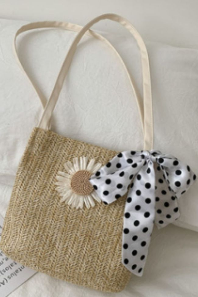 Women Straw Beach Bag Vintage Handmade Woven Shoulder Bag Raffia circle Rattan bags Bohemian Summer Vacation Casual Bags