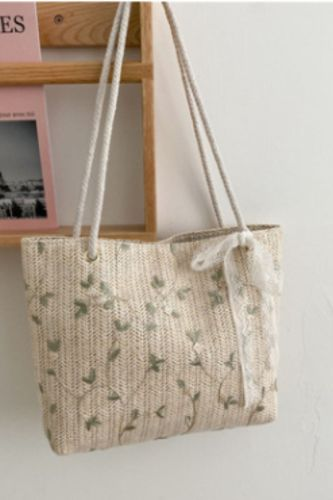 2021 New Ladies Straw Woven Bag Summer Fresh and Simple Lace Flower Woven Bag Western Style Beach Bag Single Shoulder Tote Bag
