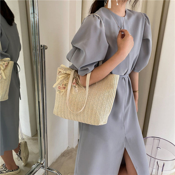 Women Straw Handbags Ladies Large Capacity Lace Shoulder Underarm Bag For 2021 Trend Beach Travel Shopping Woven Tote Bag Big