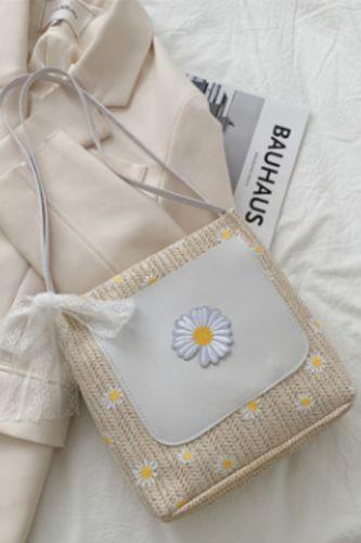 Summer Straw Woven Bucket Bag Female 2021 New Fashion All-match Western Style Printed Woven Shoulder Bag Cute Casual Handbag