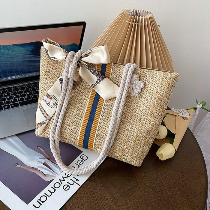 Large Capacity Simple Straw Bag New Fashion Woven Women's Tote Shoulder Bag Trendy Striped Buckle Handbags for Women 2021 Summer
