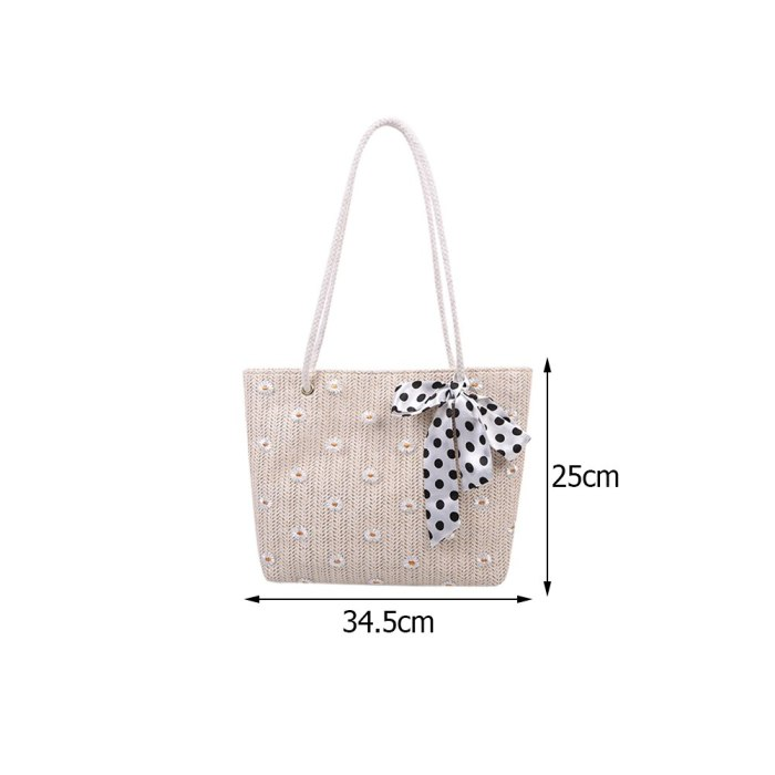 Large Beach Bags for Women 2021 Trend Lace Woven Purses and Handbags Daily  Shopper Tote Silk Scarf Bowknot Daisy Shoulder Bag