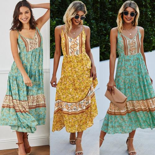 Women Green/Yellow Sleeveless Dresses