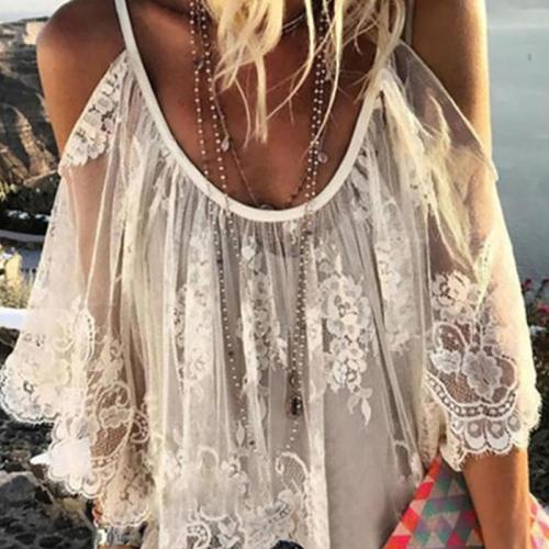 Guipure Lace Short Sleeve Shirts & Tops
