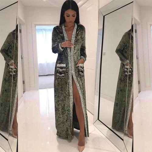 Elegant Fashion Slim Color Block Long Sleeve Fork Evening Dress Cardigan