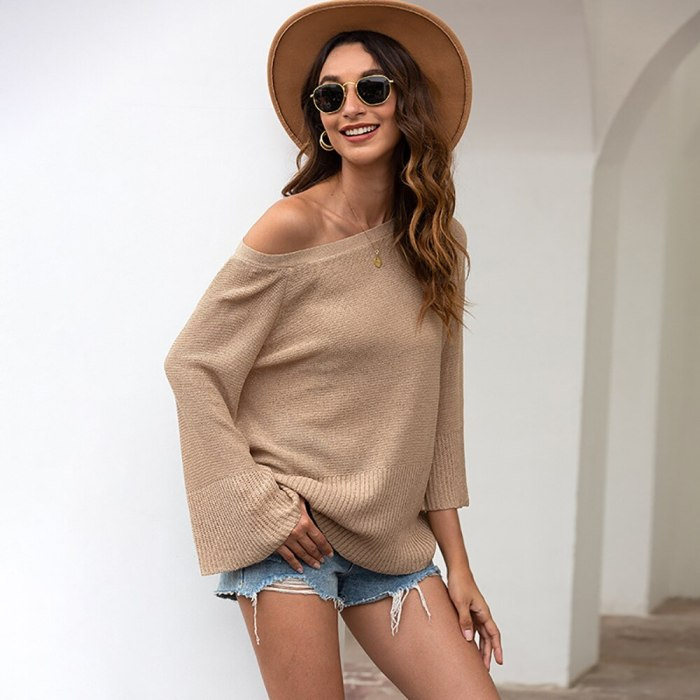 Summer new products European and American women's back hollow sweater women's bow tie halter sweater