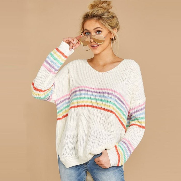 Autumn Sweater Women's V-Neck Pullover Long-Sleeved Rainbow Striped Loose Fashion Ladies Top 2021 New Base