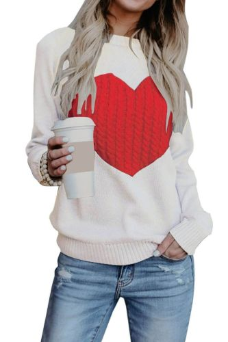 Knitted Sweater Women Autumn Winter New Gray Black White Round Neck Love Fashion Top2021 Europe America Plus Size Pullover